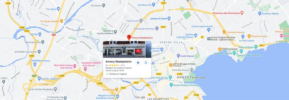 Carte d'accès à la boutique médicale Annecy Réadaptation